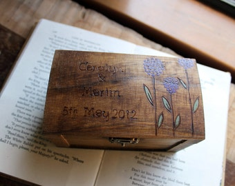 Rustic Woodburned Ring Bearer Box - Allium - Ring Bearer Pillow Box - Wedding Ring Box