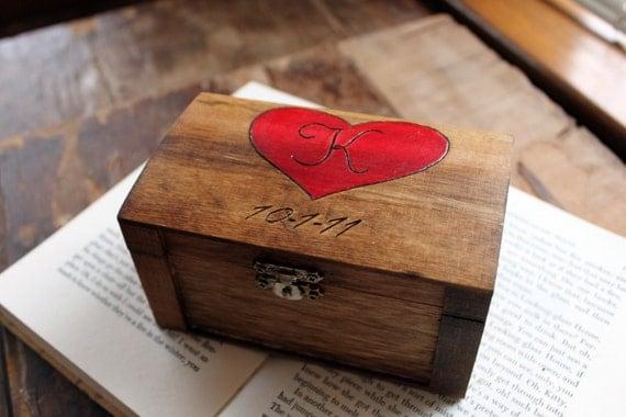 Rustic Woodburned Ring Bearer Box- Wedding Ring Box - Ring Pillow