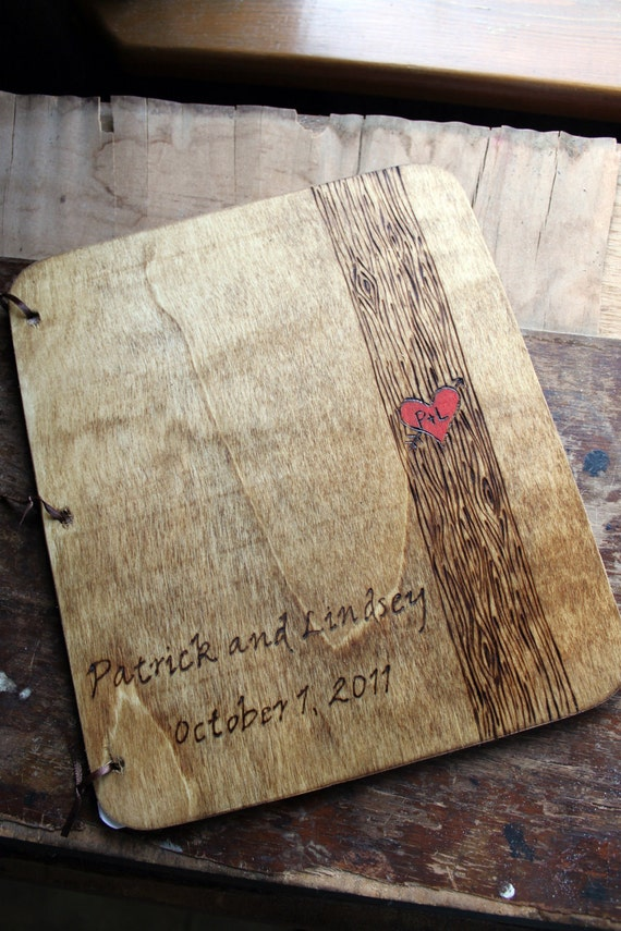 wood wedding guest book rustic guestbook custom name