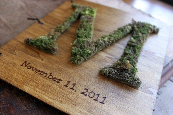 Custom Moss Monogram Wedding Guest Book