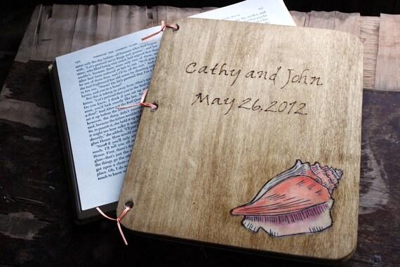 Custom Woodburned  Wedding Guest Book - Conch Shell - Beach Wedding