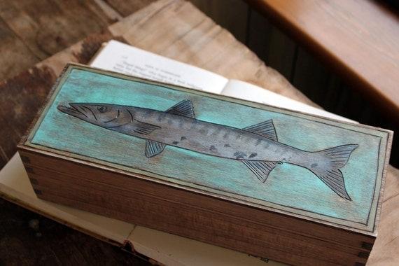 Woodburned Box - Barracuda
