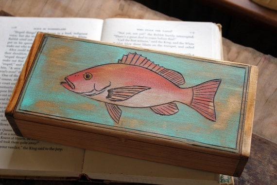 Woodburned Box - Red Snapper