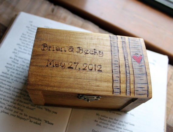 Rustic Woodburned Ring Bearer Box -Birch Forest - Ring Bearer Pillow Box - Wedding Ring Box