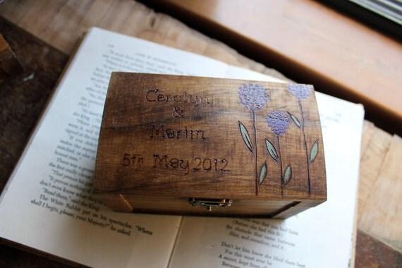Rustic Woodburned Ring Bearer Box - Allium- Ring Pillow - Ring Box - Anniversary gift - Rustic Wedding Ring Box