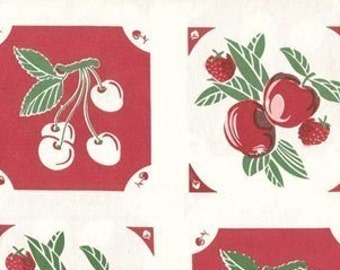 FABRIC VINTAGE style GRANNY'S Kitchen Towel Fabric Fruit