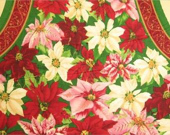 Clearance FABRIC Poinsettia  APRON You Sew Fabric Panel