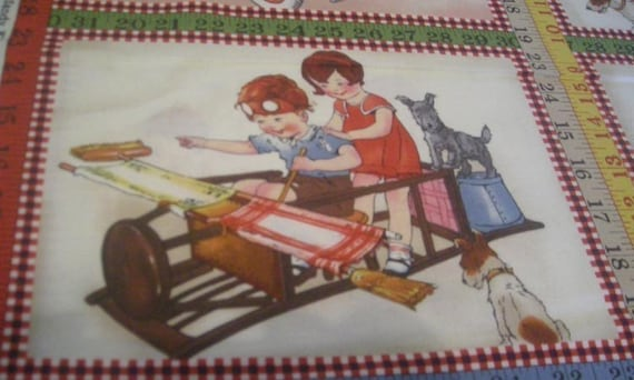 VINTAGE STYLE 1930s CHILDREN PLAYING Wee Play MODA Fabric