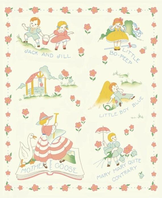 1930s Nursery Rhyme Quilt Panel Little Bo Peep more Fabric