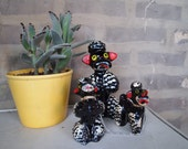 Vintage, Redware Black Poodle mama and two puppies. Tres Cute.
