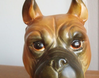 Super SALE: Antique.Collectible Rubens Originals. DOG HEAD vase, boxer with pointed ears.