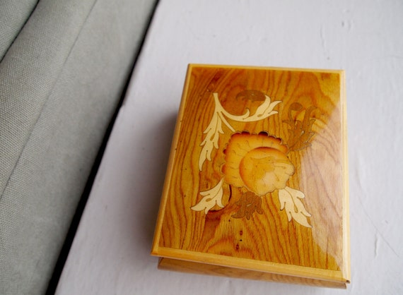 Flower inlay, little jewelry box. Wooden with red velvet lined interior.