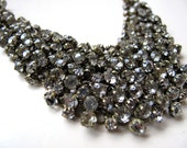 Antiqued Chain and Rhinestone Sparkly Cluster Bib Statement Necklace