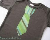 Little Man Stripe Tie on Army Green Short Sleeve Lap Tee - Custom Size