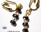 Bronze Czech Glass Faceted Rondelle Pierced Look Clip On Earrings CER-0110-N
