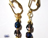 Blue Smoke Czech Glass Faceted Round Pierced Look Clip On Earrings CER-0110-H