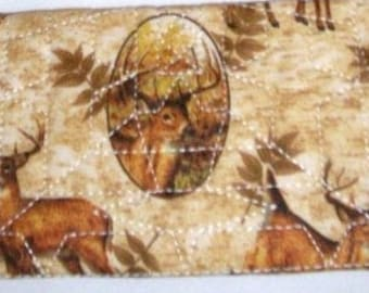 Handcrafted Deers Brown Tone Quilted Fabric Checkbook cover
