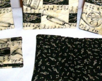 Musical Black and Gold Quilted Fabric Checkbook Cover