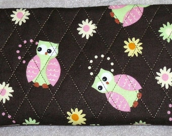 Lime Green and Pink Owls Chocolate Brown Quilted Fabric Checkbook cover