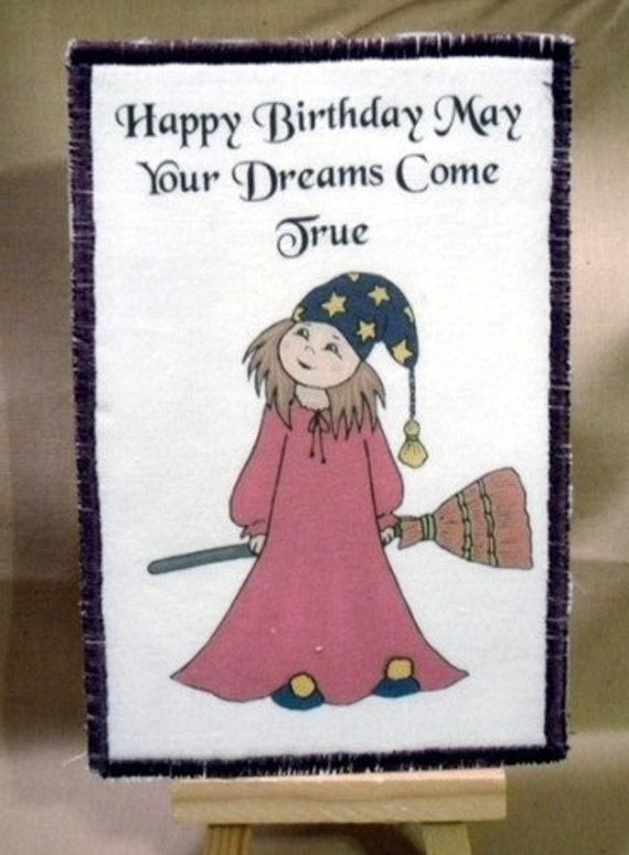 Items Similar To Little Witch With Birthday Wishes Fabric