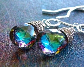 Mystic Shimmer Earrings - Aurora Borealis Rock Crystal and Sterling Silver Earrings