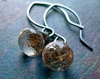 Rutilated Quartz and Sterling Silver Earrings - Rutilated Quartz Onion Briolettes on Oxidized Sterling Silver Hammered Earwires