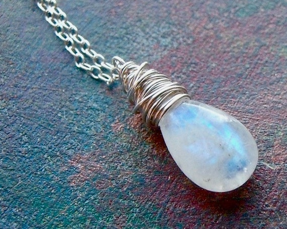 Sterling Silver Rainbow Moonstone Necklace - Dainty Rainbow Moonstone Pendant on Sterling Silver Chain