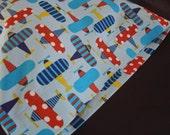 ORGANIC Cotton Pillowcase, Toddler/Travel-Sized, Ready, Set Go Airplanes, Blue