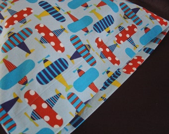ORGANIC Cotton Pillowcase, Toddler/Travel-Sized, Ready, Set Go Airplanes, Blue