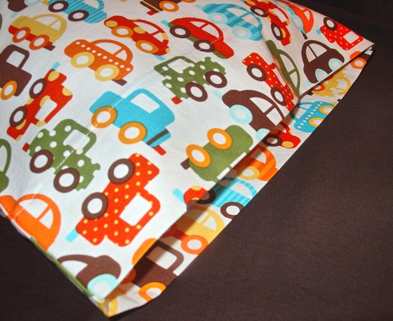 ORGANIC Cotton Pillowcase, Toddler/Travel-Sized, Ready, Set, Go Cars