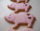 Farm Piggy Pig Barn Party Cookies 1 dozen