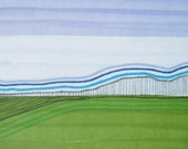 Landscape in Blue and Green. ACEO. original. ink and marker on paper