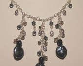 Midnight Blue Coin Pearl Necklace