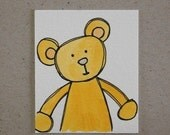 Teddy Optimism - Mini Painting Original - Watercolour and Ink