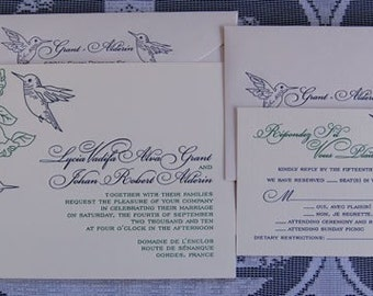 Letterpress Wedding Invitation DEPOSIT, Wedding Invitation, Hummingbirds Wedding Invitation, Hummingbirds Invitation, Wedding Invitations