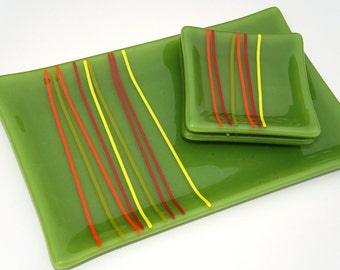 Plate Set - Fused Glass Green with Red, Orange and Yellow Accents