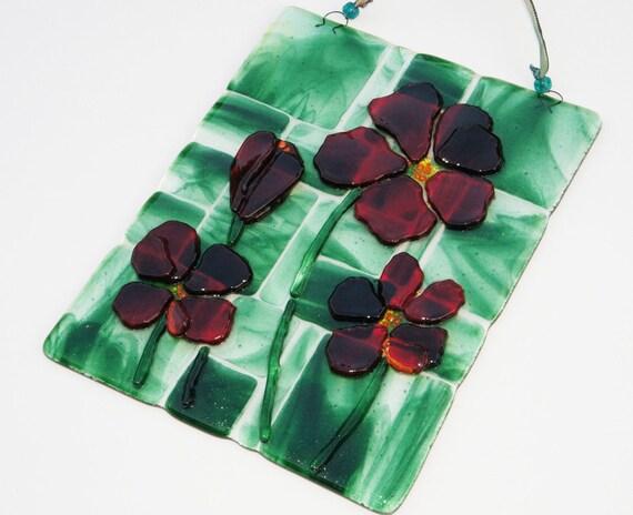 Reserved Listing: Red Flowers on Green Mosaic Fused Glass Suncatcher, Home Decor, Suncatcher, Garden Art