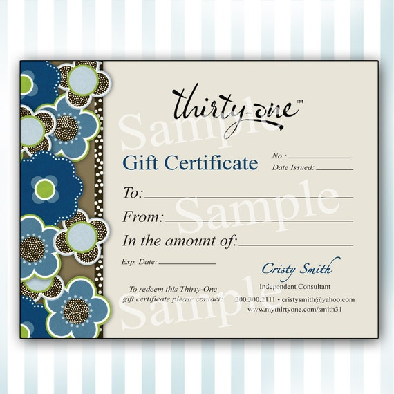 Items similar to custom thirty one gift certificate for Free customizable gift certificate template
