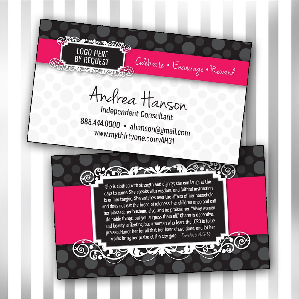 Custom consultant double sided business card by sweetmaggies for Thirty one business cards vistaprint