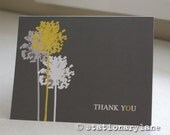 10 yellow and grey note cards plus envelopes