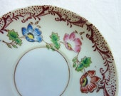 Set of Four Vintage Porcelain Plates Saucers with Handpainted Floral Details