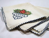 Vintage Hand Embroidered Cream White Blue Red Green Napkin Set of Four