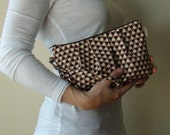Clearance -  Maddy Pleated Clutch Wristlet - Joel Dewberry Geo in Flax