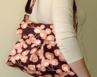 Petite Shoulder Bag -  Amy Butler August Fields - Bright Buds Chocolate