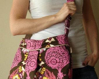 Pleated Shoulder Bag with Adjustable Strap - Anna Maria Horner - Innocent Crush - LovesMe LovesMeNot in Bark