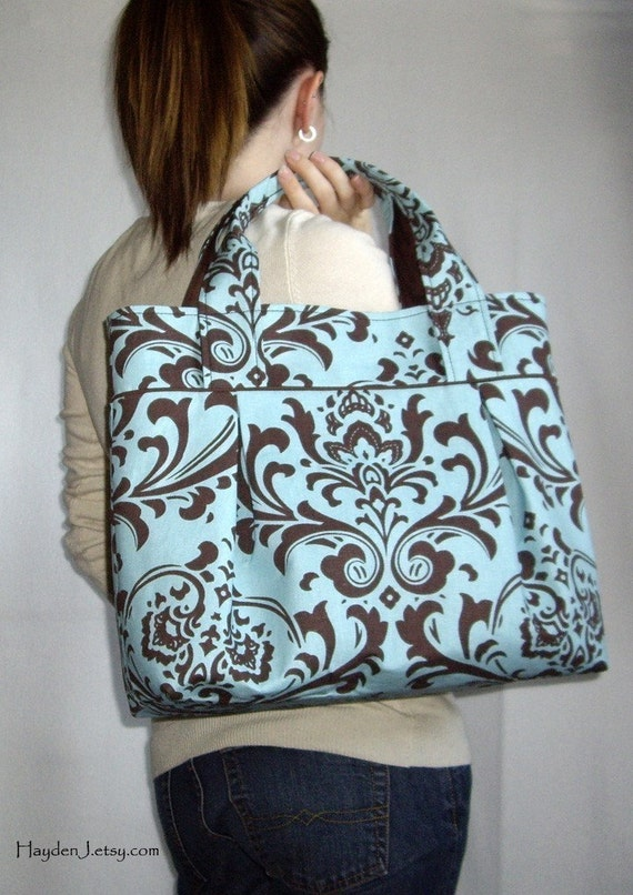 Weekend Tote - Aqua and Brown Damask