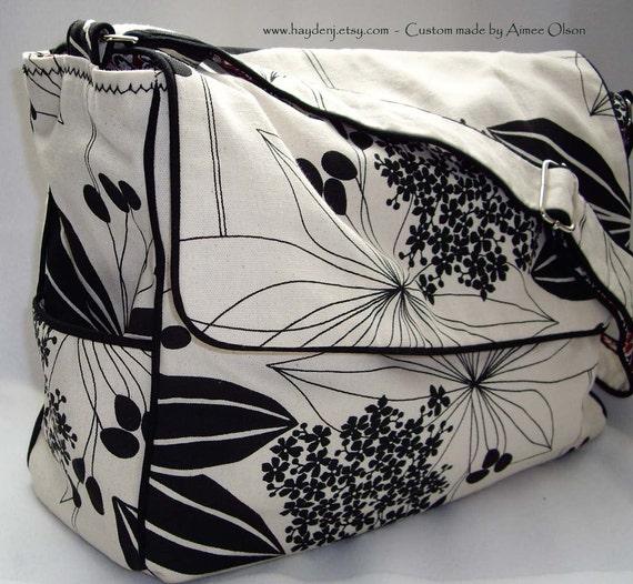 Black White Floral Diaper \/ Messenger Bag