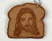 Jesus Toast - Laser Cut Etched Wood Necklace