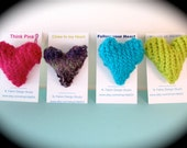 FREE SHIPPING- Knit Heart Pin Brooch- Love Pin