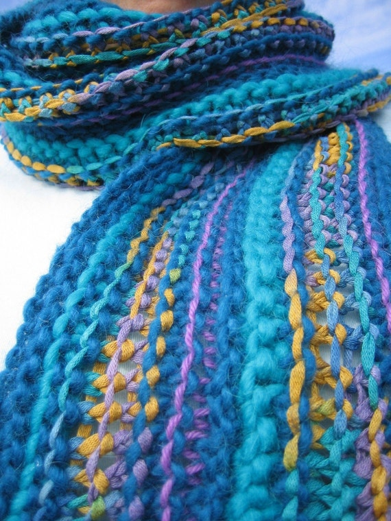 SALE 50% off- Knit Scarf with Fringe in Blue, Yellow, Purple Stripes
